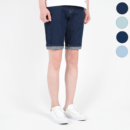TRMARK WASHING HALF DENIM D-BLUE