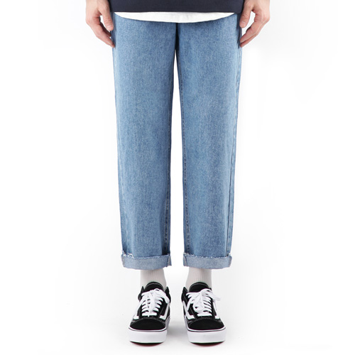 TRMARK STRAIGHT HIGH CROP DENIM BLUE