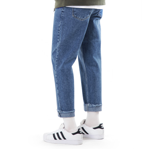 TRMARK STRAIGHT HIGH CROP DENIM D-BLUE