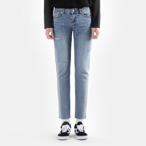 TRMARK LINE WASHING CROP DENIM V-BLUE