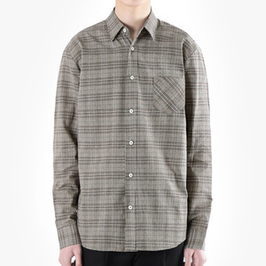TRMARK CK_003 GLEN CHECK SHIRT BROWN