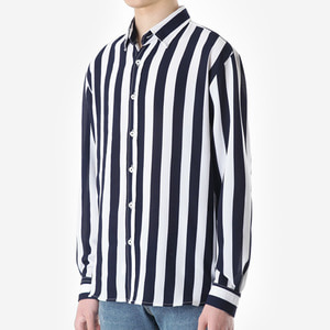 TRMARK ST_007 AWNING STRIPE SHIRT NAVY