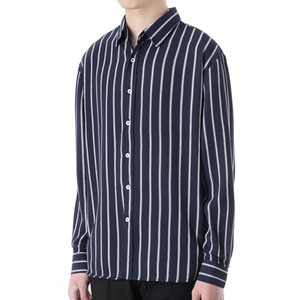 TRMARK ST_006 TICK STRIPE SHIRT NAVY