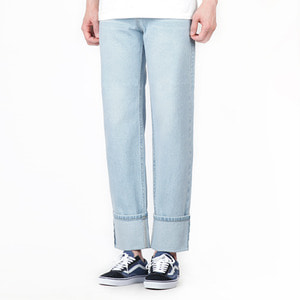TRMARK WASHING WIDE ROLL UP DENIM L-BLUE