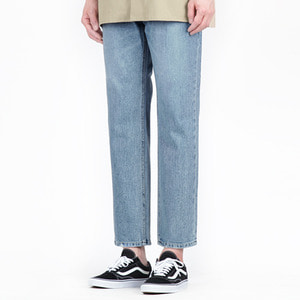 TRMARK ONE TUCK STRAIGHT WASHING DENIM BLUE