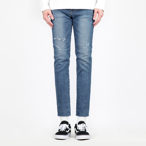 TRMARK WASHING KNIFED DENIM CROP BLUE