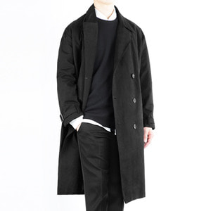 TRMARK OVER COTTON TRENCH COAT BLACK