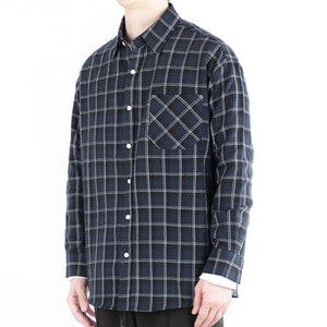 TRMARK CKO_009 WINDOW CHECK SHIRT NAVY